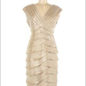 Adrianna Papell Metallica gold tiered v-neck dress